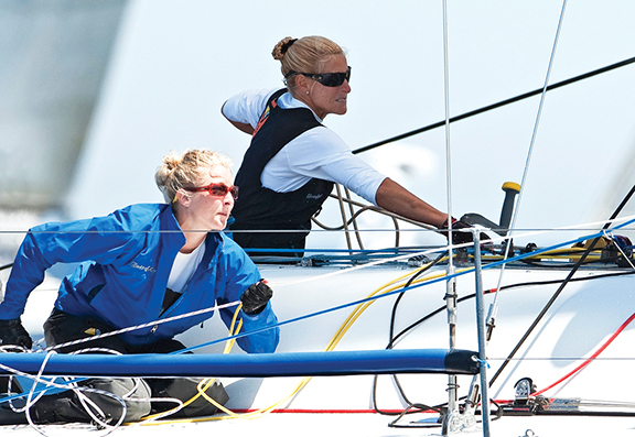 Linda Lindquist-Bishop mentors Derby Anderson as Barking Mad captures the 2009 Farr 40 World Champion, Porto Cervo, Italy