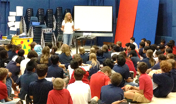 Katie speaking to middle school