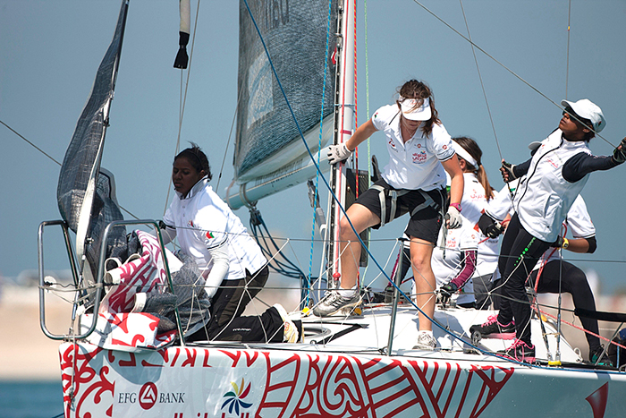 Our girls working in-port race at AbuDhabi