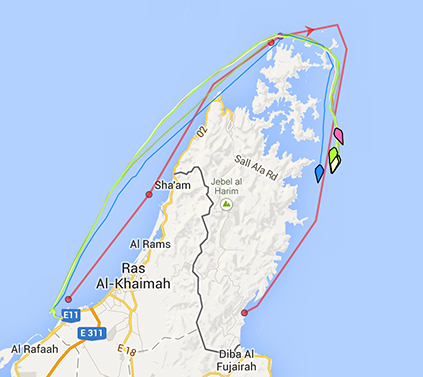 Tracker shows Leg 5 progress as of 1:00 pm EST